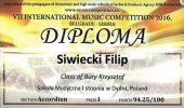 VII Międzynarodowy Konkurs Muzyczny – Belgrad, Serbia 2016.Dwa pierwsze miej-sca dla młodych akordeonistów z dydeńskiej Szkoły Muzycznej